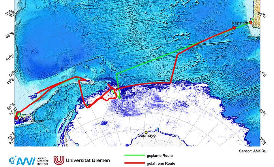 51 Wissenschaftler und Techniker, sowie 44 Besatzungsmitglieder waren während 63 Tage mit dem Forschungseisbrecher Polarstern im Weddellmeer unterwegs.