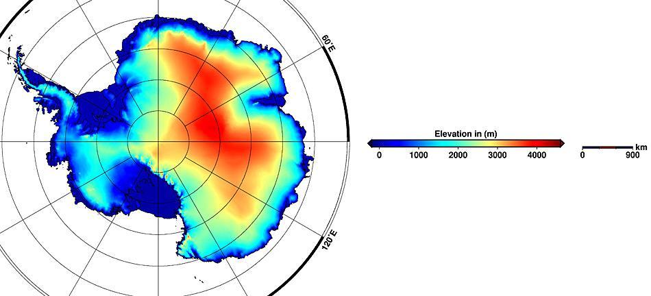 Das neue digitale Abbild der antarktischen Eisschilde, basierend auf Daten des CryoSat-2.