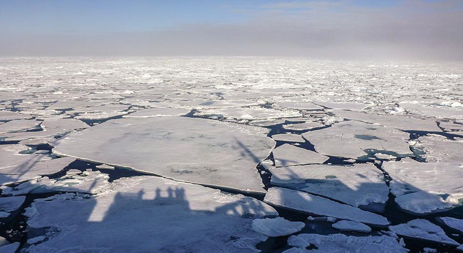 Meereis kann auch für die heutigen modernen Schiffe ein ernsthaftes Problem sein. Zu Zeiten von Ernest Shackleton, als die Schiffe noch aus Holz gebaut worden waren, wurden diese häufig einfach vom Eis zerquetscht. Bild: Katja Riedel