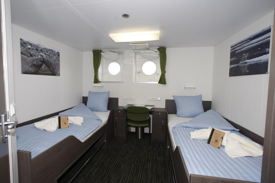 Einige wenige 2-Bett-Kabinen, mit Bullauge wurden ebenfalls umgebaut.