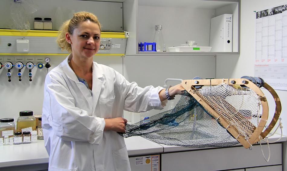 Aufnahme aus dem ICEFLUX-Labor am AWI Bremerhaven. Doktorandin Carmen David zeigt ein Modell des Unter-Eis-Netzes SUIT, mit dem die Wissenschaftler ihre Proben fangen. Foto: Sina Löschke, AWI