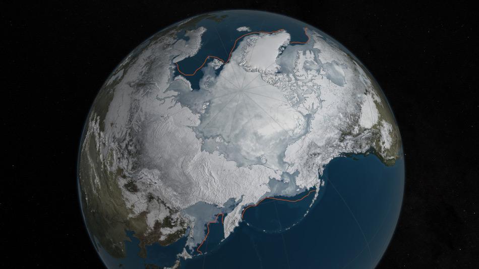 Das arktische Meereis hat in diesem Winter seine kleinste Ausdehnung erreicht, zum zweiten Mal in Folge. Mit den gemessenen 14.52 Millionen Quadratkilometer ist dies die kleinste Maximalausdehnung seit den Satellitenmessungen und rund 1.11 Millionen Quadratkilometer weniger als die durchschnittliche Maximalausdehnung (orange Linie), gemessen zwischen 1981 – 2010. Karte: NASA Goddard's Scientific Visualization Studio/C. Starr