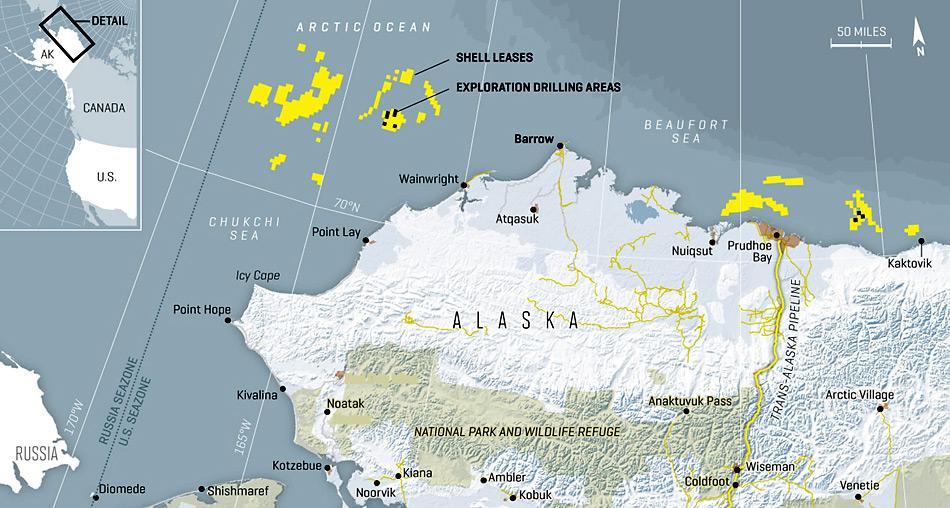 In der Chukchi Sea befinden sich einige grosse Ölfelder. Die Förderung birgt unvorhergesehene Risiken und ein Ölunfall hätte für die Umwelt verheerende Folgen.