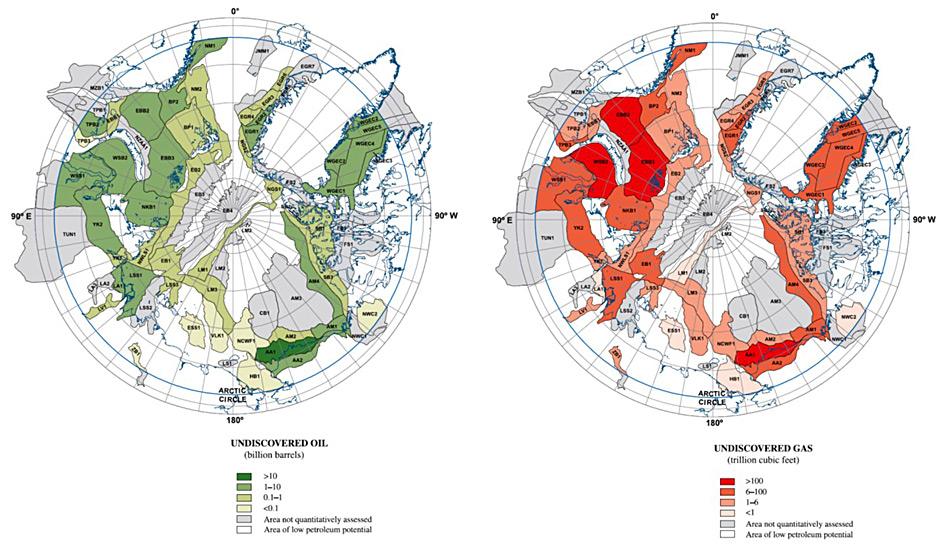 Die geschätzte Menge an fossilen Brennstoffen hier auf der Karte (grün = Öl, rot = Gas) beträgt rund ein Viertel der weltweiten noch vorhandenen Mengen. Dies macht die Arktis enorm wertvoll für viele Regierungen und Firmen.